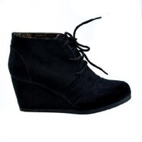 Rex! By City Classified Lace-up Wedge Ankle Booties in Black Linen