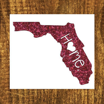 GLITTER Florida Home Decal | Florida State Decal | Homestate Decals | Love Sticker | Love Decal  | Car Decal | Car Stickers | Bumper | 049