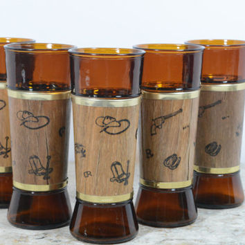 Siesta Ware Tumblers Glasses Western Style Wood Jackets 60's Decor Set of 5 10oz