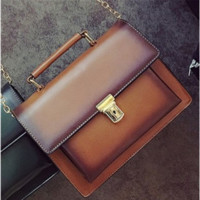 Fashion Retro Metal Chain Lock Buckle Square Handbag Single Shoulder Bag