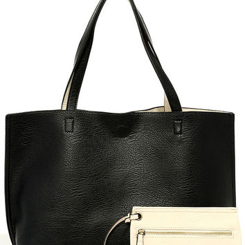 Do Your Thing Light Beige and Black Reversible Tote