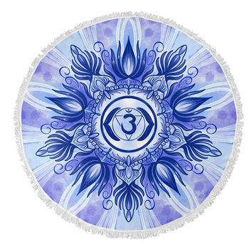 Third Eye Chakra Round Beach Towel