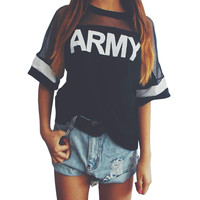 Korean Style Punk Rock Army Women T Shirt