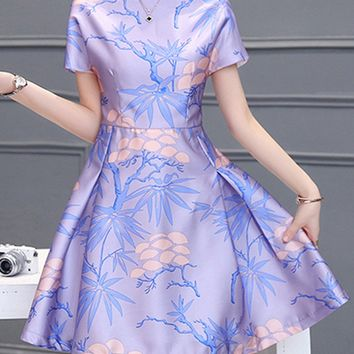 Streetstyle  Casual Captivating Boat Neck Printed Skater Dress