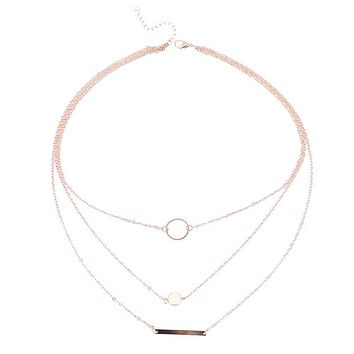 Wild Aperture Metal Layered Necklace (Gold or Silver)