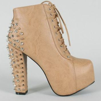 Leah-66 Studded Spike Lace Up Platform Bootie