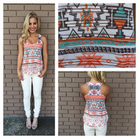 Mint & Orange Aztec Tank