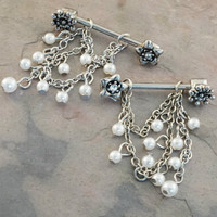 Chain Nipple Ring Jewelry Barbell 316L 14ga Piercing with Charms