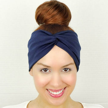 Navy Blue Turban Headband Blue Twist Headband Blue Wide Headband Blue Yoga Headband Knotted Fitness Hair Band Blue Women's Hippie Head Wrap