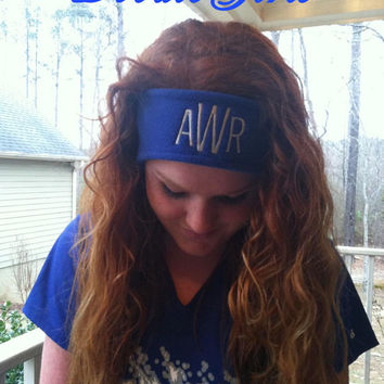 Monogrammed Fleece Headband, Name, Monogram OR Sorority.  Fleece ear warmer.
