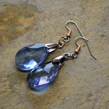 Blue Drops Crystal Prism Earrings Glass Dangle Chandelier