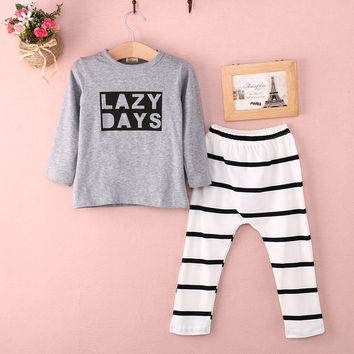baby boys Girls clothes set  Newbornt Baby Long Sleeve Clothes T-shirt +Striped Pants  Outfits Set 1 2Y