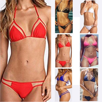 New Triangle Bikini Set Splicing Push Up Swimsuit Brazilian Women Biquini Swimwear Mesh Bathing Suits = 1956375236