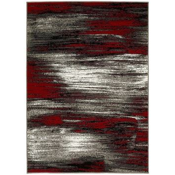 Lyke Home Lava Red/Grey Olefin Machine-made Area Rug (5' x 7') | Overstock.com Shopping - The Best Deals on 5x8 - 6x9 Rugs
