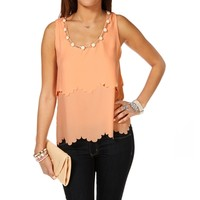 Pre-Order Blush Embellish Scallop Top