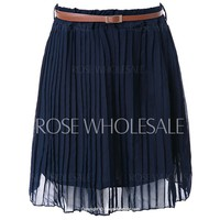 Retro Style Preppy Solid Color High-Waisted Pleated Skirt For Women