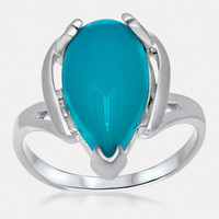 925 Silver Ring with Teal Paraiba Agate