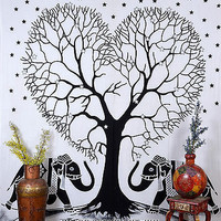 Black & White Color Elephant Love Tree Indian Tapestry Double Bed Sheet DBS182