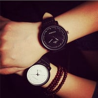 2015 unisex leather strap watches men luxury brand big dial men watch for lovers black white lady sport women dress quartz watch (With Thanksgiving&Christmas Gift Box)= 1956523588