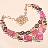 Modern Pink Druzy With Amethyst Necklace 925Silver