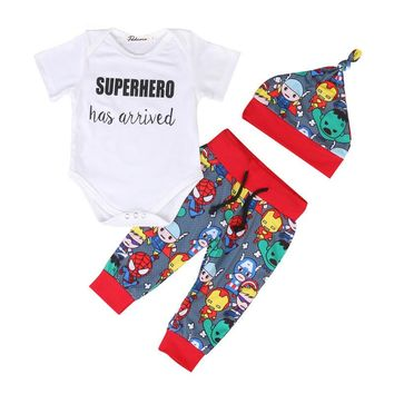 pudcoco new 3PCS Rompers Hat Pants Baby Boys Girls Clothing Set Cute Cartoon spiderman Toddler Infant Cotton short Sleeve Kids