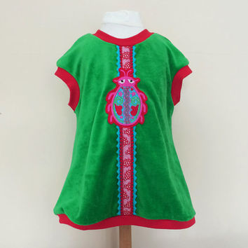 Baby Girl Dress Babyclothing Tunic Dress with Funky Bug sz 68 or 4 months Euro Children's clothing Green