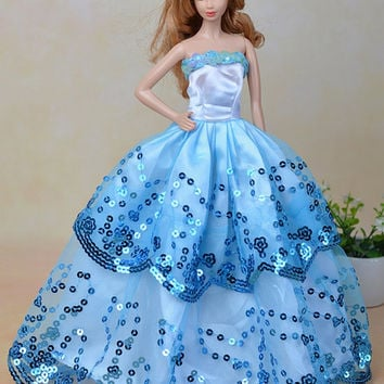 Blue Ball Gown with Light Blue Sequined Lace Details for Barbie Doll