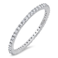The Darling Classic & Elegant 2TCW Micro Pave Russian Lab Diamond Wedding Band Stacking Ring
