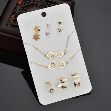 L J Punk Style Gold/Silver Color Infinity 8 Bracelet Necklace Snow Stud Earring Heart Ring Jewelry Sets For Women