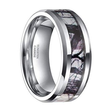 CERTIFIED 6mm 8mm Mens Womens Tungsten Camouflage Rings Wedding Band