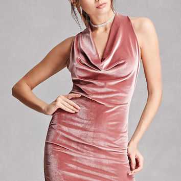 Velvet Cowl Neck Dress