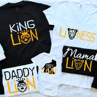 Lion Family Matching Shirts.Everything Customizable.Shirts available in Black White or Gray lion cub lioness mommy daddy and me set