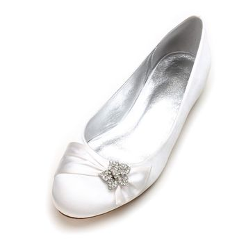 Creativesugar rounded toe satin dress flats shoes with star crystal rhinestone charm clip elegant bridal wedding prom lady shoes