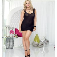 Stretch Mesh Chemise W-lace Strap Neckline, Adjustable Back Lace Up & Thong Black-iris Qn