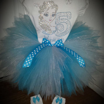 Disney inspired Rhinestone Frozen Elsa Birthday Tutu Outfit tutu set Name/Number FIRST 1st , Second 2nd, 3rd -7th Bday Long or Short Sleeve