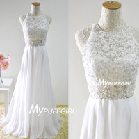 White Halter Open Back Chiffon Prom Dress With Beaded Sheer Lace Appliques Bodice