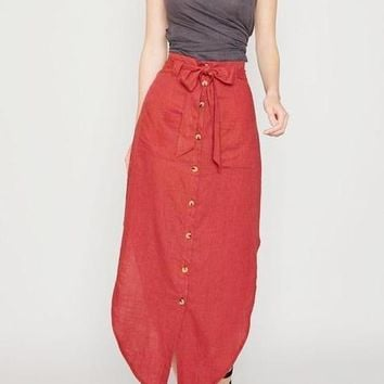 Tessa Linen Blend Midi Skirt in Brick