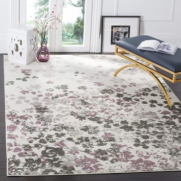 0104 Ivory Purple Abstract Contemporary Area Rugs