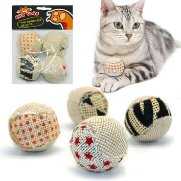 VOND4H 4pcs/pack Ball Cat Toy  Interactive Cat Toys Play Chewing Rattle Scratch Catch Pet Kitten Cat Exrecise Toy Balls