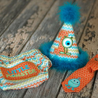 LAST ONE - Monster Boys Birthday Party Hat, Diaper Cover, Tie - First Birthday, Smash Cake - Little Monster Orange, Teal, Lime