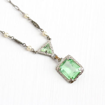 Vintage Art Deco Silver Tone Green Uranium Glass Stone Necklace - Antique 1920s Seed Pearl Filigree Lavalier Pendant Costume Jewelry