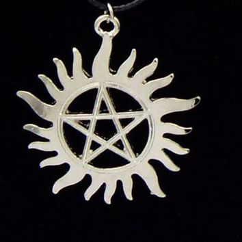 Supernatural Dean necklace,the Silver Star Pentagram vintage Movie Men Necklace
