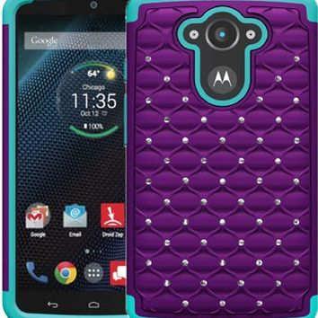 [ Motorola Droid Turbo / XT1254 ] ToPerk (TM) Luxury Spot Diamond Dual Layer Armor Case (ALSO Compatible with Ballistic Nylon) + Free HD Screen Protector & Stylus Pen As Bundle Sale - Purple