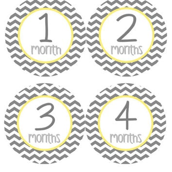 Monthly Onesuit Stickers Baby Month Stickers Girl Boy Grey Yellow Gender Neutral Chevron Onesuit Stickers Baby Shower Gift Photo Prop Casie2