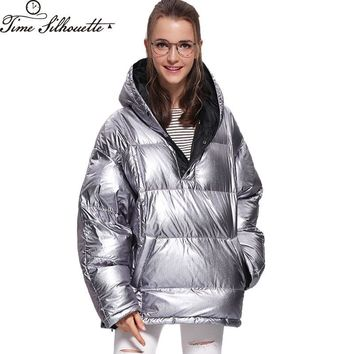 TIME SILHUETTE Warm Parkas Women Down Jacket Outwear 2017 Hooded Cloak Poncho Silver Bling Bling Shining Thick Down Coat L446
