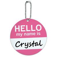Crystal Hello My Name Is Round ID Card Luggage Tag