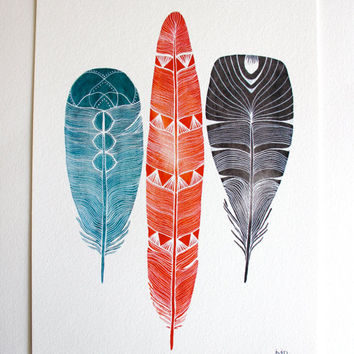 Feather Art Watercolor Painting - Large Archival Print - 11x14 Lhasa Feathers