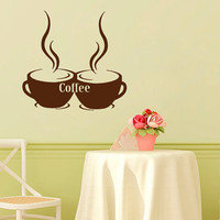 Coffee Wall Decal Coffee Cup Stickers Vinyl Decals Art Mural Sweet Home Decor Cafe Interior Design Kitchen Sticker Living Room Decor KY17