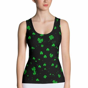 St Patricks Day Shamrock Tank Top - Clover Print Shirt - Saint Patricks Day Shirt - Shamrock Shirt