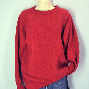 Vintage 80s Sweatshirt, Old School Sweatshirt, Red Heather Sweatshirt, Soft Sweatshirt, Unisex Sweatshirt